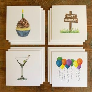Set of 12, Greeting Cards, Birthday Pack
